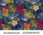 seamless pattern with trendy... | Shutterstock .eps vector #1055895935