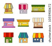 set of 9 store front icons.... | Shutterstock .eps vector #1055900672