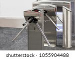 closed entrance turnstile with... | Shutterstock . vector #1055904488
