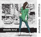 sexy summer girl on a street...   Shutterstock .eps vector #105590516