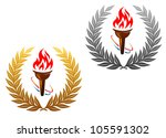 flaming torch in golden and...   Shutterstock . vector #105591302