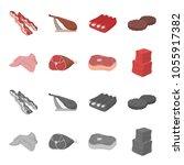 chicken wings  ham  raw steak ... | Shutterstock .eps vector #1055917382