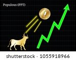 gold bull  throwing up populous ... | Shutterstock .eps vector #1055918966