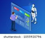 isometric maintenance engineer... | Shutterstock . vector #1055920796