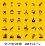 set hazard warning symbols. eps ... | Shutterstock . vector #105592742