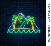 glowing neon summer sign with...   Shutterstock .eps vector #1055931056