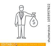 businessman holding money bag...   Shutterstock .eps vector #1055957822
