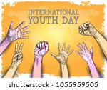 international youth day design... | Shutterstock .eps vector #1055959505