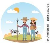 farmer cartoon character with... | Shutterstock .eps vector #1055986796