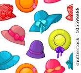 seamless woman hat pattern | Shutterstock .eps vector #105598688