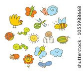 set of funny insects in a... | Shutterstock .eps vector #1055988668