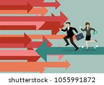 businessman and woman are... | Shutterstock .eps vector #1055991872