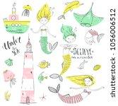 cute little mermaid set.... | Shutterstock .eps vector #1056006512