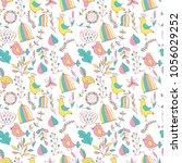 flower pattern seamless in... | Shutterstock .eps vector #1056029252