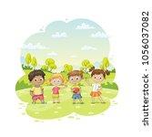 group of children ist standing... | Shutterstock .eps vector #1056037082