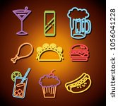 fast food and drinks with neon... | Shutterstock .eps vector #1056041228