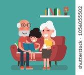 grandparents and granddaughter  ... | Shutterstock .eps vector #1056055502