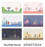stories of the park background. ... | Shutterstock .eps vector #1056072626