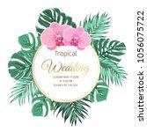 tropical wedding marriage event ... | Shutterstock .eps vector #1056075722