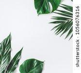 leaf pattern. green tropical... | Shutterstock . vector #1056076316