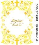 baptism card design with cross. ... | Shutterstock .eps vector #1056087002