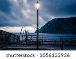 street lamp lantern turned on... | Shutterstock . vector #1056122936