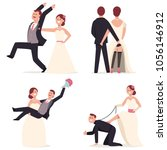 funny wedding cake toppers.... | Shutterstock .eps vector #1056146912