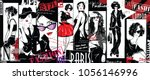 Fashion collage with freehand drawings, female faces | Shutterstock vector #1056146996