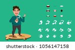 man who love coffee and holding ... | Shutterstock .eps vector #1056147158