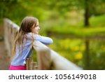cute little girl watching... | Shutterstock . vector #1056149018