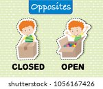 opposite words for closed and...   Shutterstock .eps vector #1056167426