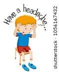 wordcard for headache with boy...   Shutterstock .eps vector #1056167432