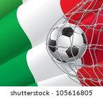 soccer goal. italian flag with... | Shutterstock .eps vector #105616805