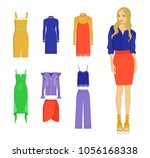 set of various summer clothes ... | Shutterstock .eps vector #1056168338