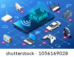 small mobile device as home... | Shutterstock .eps vector #1056169028