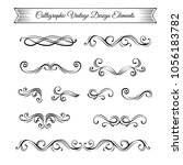 swirls  swashes  scrolls.... | Shutterstock .eps vector #1056183782