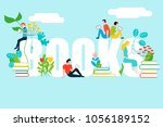 happy people reading on books... | Shutterstock .eps vector #1056189152