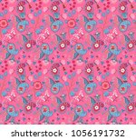 seamless floral paisley pattern ... | Shutterstock . vector #1056191732