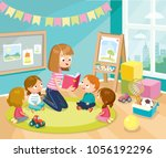 illustration with children in a ... | Shutterstock .eps vector #1056192296