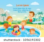 children swimming in aqua parq | Shutterstock .eps vector #1056192302