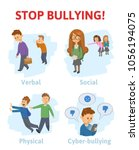 stop bullying in the school. 4... | Shutterstock .eps vector #1056194075