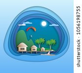 sea resort with bungalows ... | Shutterstock .eps vector #1056198755