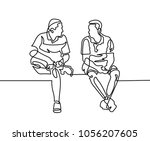 continuous one line drawing of... | Shutterstock .eps vector #1056207605