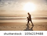 silhouette of grandfather... | Shutterstock . vector #1056219488