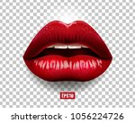 sexy red lips isolated on... | Shutterstock .eps vector #1056224726