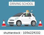 Stock vector happy cartoon caucasian female siting in white driving school car outdoor design concept drivers 1056229232