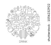 drinks in circle   concept line ... | Shutterstock .eps vector #1056232922