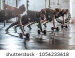 group of men and women doing... | Shutterstock . vector #1056233618