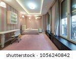 pink bedroom interior in modern ... | Shutterstock . vector #1056240842