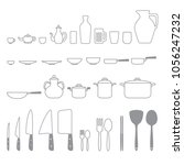 kitchenware or tools flat... | Shutterstock .eps vector #1056247232